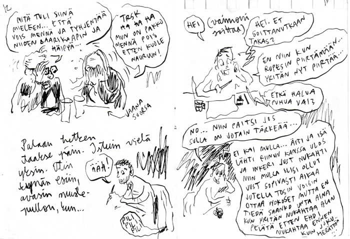 Фрагмент типичного комикса Вилле Ранты на финском